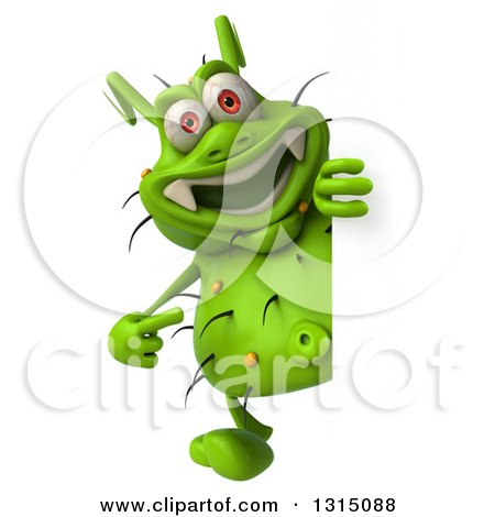 Clipart of a 3d Full Length Green Germ Pointing Around a Sign - Royalty Free Illustration by Julos