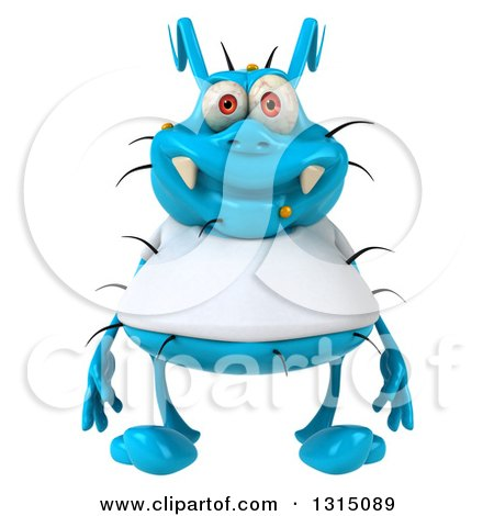 Clipart of a 3d Blue Germ Virus Wearing a White T Shirt - Royalty Free Illustration by Julos