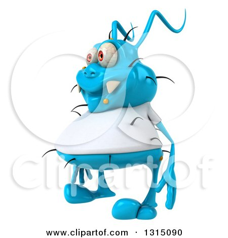 Clipart of a 3d Blue Germ Virus Wearing a White T Shirt, Facing Slightly Left - Royalty Free Illustration by Julos