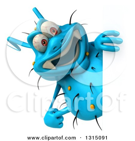 Clipart of a 3d Blue Germ Virus Pointing Around a Sign - Royalty Free Illustration by Julos
