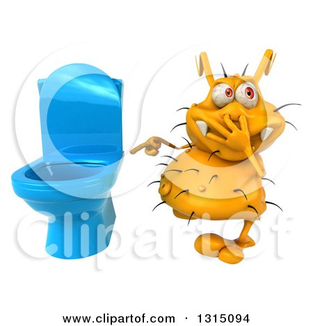 Clipart of a 3d Yellow Germ Virus Plugging His Nose and Pointing to a Toilet - Royalty Free Illustration by Julos