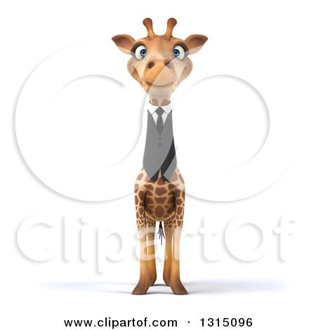 Clipart of a 3d Business Giraffe - Royalty Free Illustration by Julos