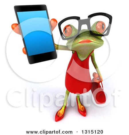 Clipart of a 3d Bespectacled Green Female Springer Frog Holding up a Smart Cell Phone - Royalty Free Illustration by Julos