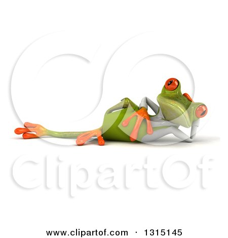 Clipart of a 3d Green Springer Frog Reclined in a Gardening Apron 2 - Royalty Free Illustration by Julos