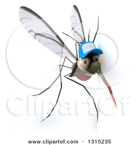 Clipart of a 3d West Nile Virus Mosquito Wearing a Hat Around a Sign - Royalty Free Illustration by Julos