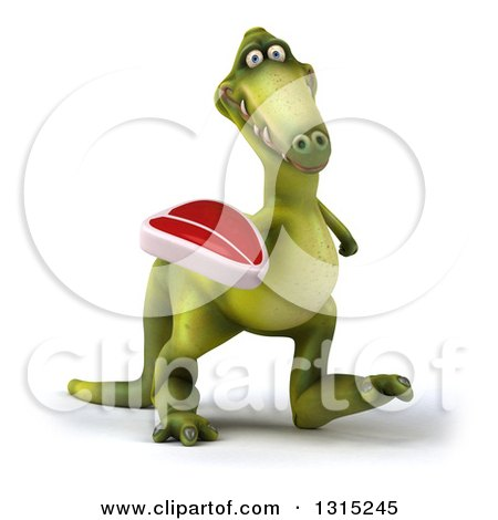 Clipart of a 3d Green Dinosaur Walking Slightly Right and Holding a Beef Steak - Royalty Free Illustration by Julos