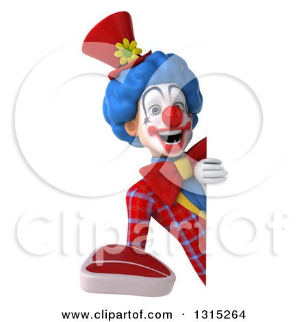 Clipart of a 3d Colorful Clown Holding a Beef Steak Around a Sign - Royalty Free Illustration by Julos