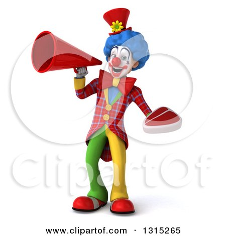 Clipart of a 3d Colorful Clown Holding a Beef Steak and Announcing with a Megaphone - Royalty Free Illustration by Julos
