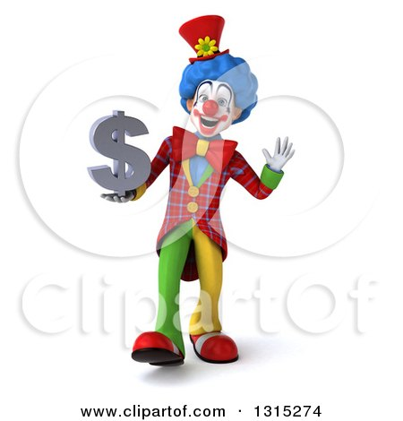 Clipart of a 3d Colorful Clown Walking Waving and Holding a Dollar Symbol - Royalty Free Illustration by Julos