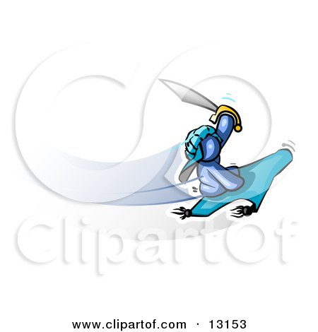 Blue Man Holding up a Sword and Flying on a Magic Carpet Clipart Illustration by Leo Blanchette