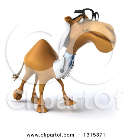 Clipart of a 3d Bespectacled Arabian Doctor Camel Walking Slightly to the Right - Royalty Free Illustration by Julos