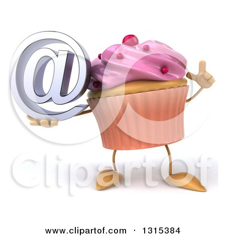 Clipart of a 3d Pink Frosted Cupcake Character Holding up a Finger and an Email Arobase at Symbol - Royalty Free Illustration by Julos