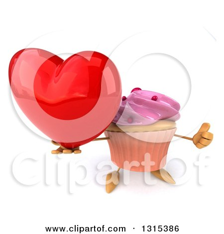Clipart of a 3d Pink Frosted Cupcake Character Holding up a Thumb and a Red Love Heart - Royalty Free Illustration by Julos