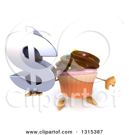 Clipart of a 3d Chocolate Frosted Cupcake Character Holding up a Dollar Symbol and Thumb down - Royalty Free Illustration by Julos
