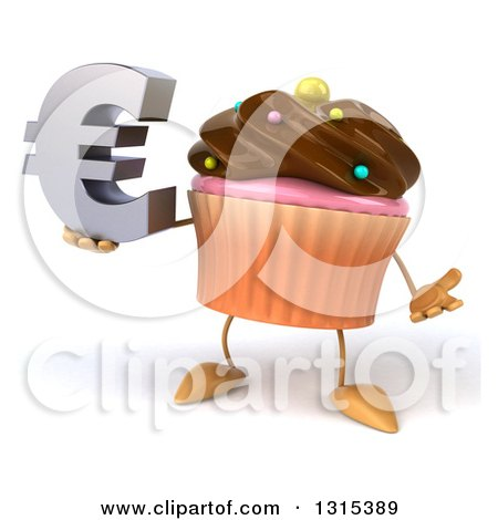 Clipart of a 3d Chocolate Frosted Cupcake Character Shrugging and Holding a Euro Symbol - Royalty Free Illustration by Julos