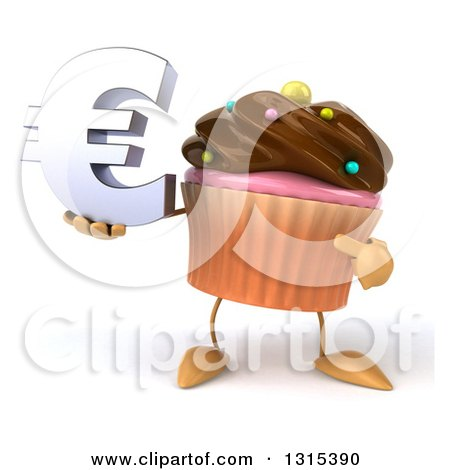 Clipart of a 3d Chocolate Frosted Cupcake Character Holding and Pointing to a Euro Symbol - Royalty Free Illustration by Julos