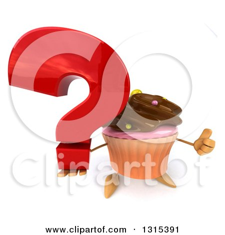Clipart of a 3d Chocolate Frosted Cupcake Character Holding up a Question Mark and Thumb - Royalty Free Illustration by Julos