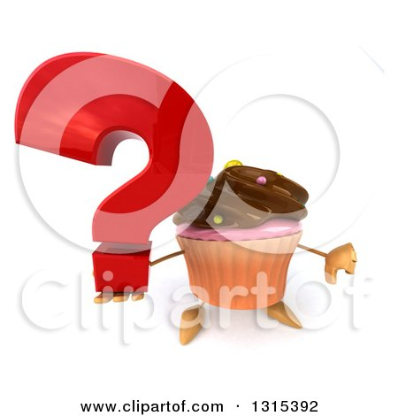 Clipart of a 3d Chocolate Frosted Cupcake Character Holding up a Question Mark and Thumb down - Royalty Free Illustration by Julos