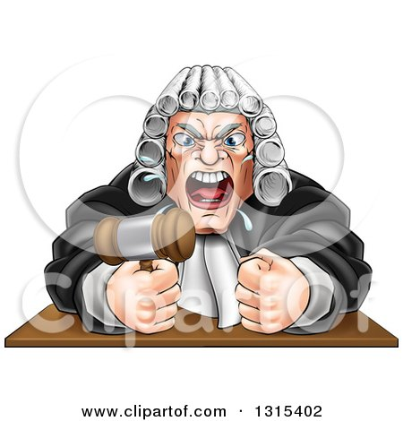 Clipart of a Cartoon Fierce Angry Male Judge Spitting, Holding a Gavel and Pounding a Fist into a Podium - Royalty Free Vector Illustration by AtStockIllustration