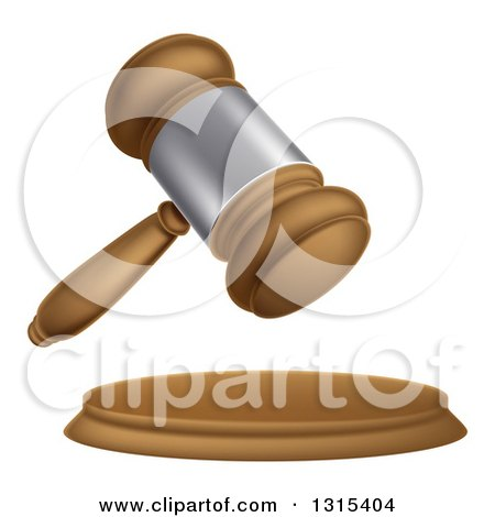 Clipart of a 3d Wooden and Silver Judge or Auction Gavel - Royalty Free Vector Illustration by AtStockIllustration