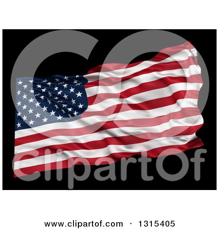 Clipart of a 3d Waving American Flag over Black - Royalty Free Illustration by stockillustrations