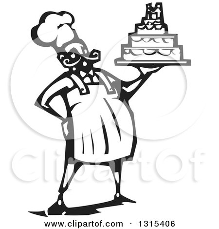 Clipart of a Black and White Woodcut Chubby Male Chef Baker Holding a Wedding Cake - Royalty Free Vector Illustration by xunantunich