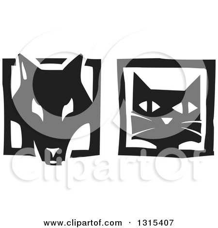 Clipart of Black and White Woodcut Dog and Cat Faces in Frames - Royalty Free Vector Illustration by xunantunich