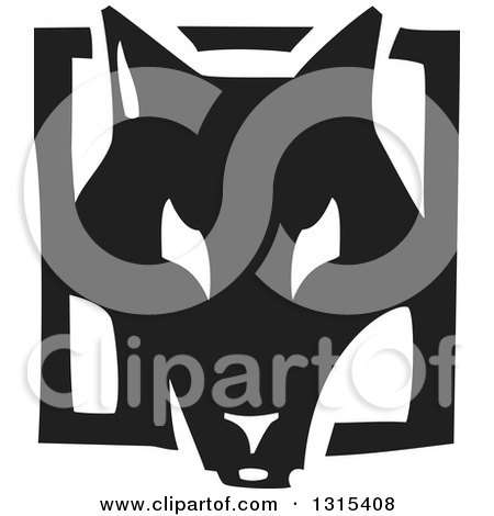 Clipart of a Black and White Woodcut Dog Face in a Frame - Royalty Free Vector Illustration by xunantunich