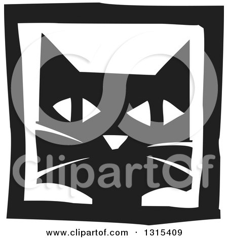 Clipart of a Black and White Woodcut Cat Face in a Frame - Royalty Free Vector Illustration by xunantunich