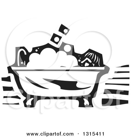Clipart of a Black and White Woodcut Person Taking a Bubble Bath in a Claw Foot Tub - Royalty Free Vector Illustration by xunantunich