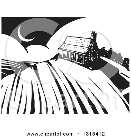 Clipart of a Black and White Woodcut Log Cabin on a Hill over Crops, with a Crescent Moon - Royalty Free Vector Illustration by xunantunich