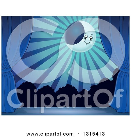 Clipart of a Night Time Stage Set with a Happy Crescent Moon, Rays, Shrubs, a Blue Backdrop and Curtains - Royalty Free Vector Illustration by visekart