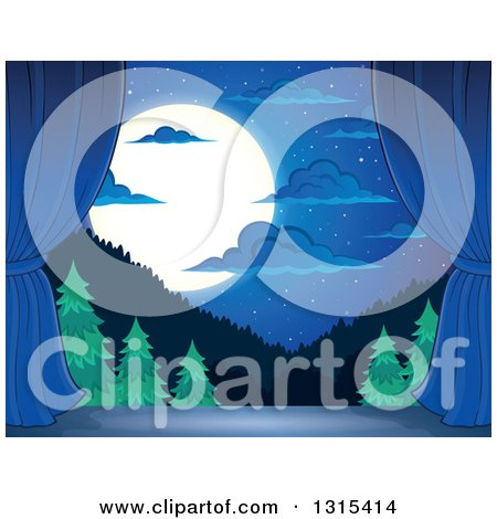 Clipart of a Night Time Stage Set with a Full Moon, Clouds, a Blue Backdrop and Curtains - Royalty Free Vector Illustration by visekart