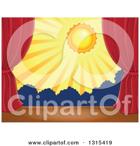 Clipart of a Stage Setting of the Sun and Silhouetted Shrubs Framed with Red Drapes 2 - Royalty Free Vector Illustration by visekart