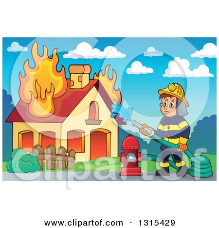 Clipart of a Cartoon White Male Fireman Using a Hose Connected to a Hydrant to Put out a House Fire, Against a Day Sky - Royalty Free Vector Illustration by visekart