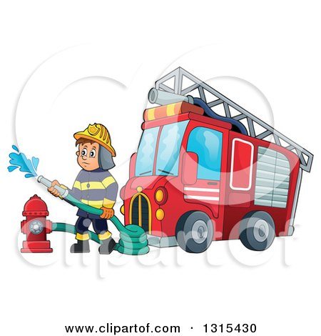 Clipart of a Cartoon White Male Fireman Using a Hose Connected to a Hydrant by a Fire Engine Truck - Royalty Free Vector Illustration by visekart