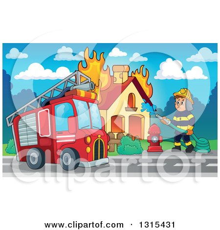 Clipart of a Cartoon Truck and a White Male Fireman Using a Hose Connected to a Hydrant to Put out a House Fire During the Day - Royalty Free Vector Illustration by visekart