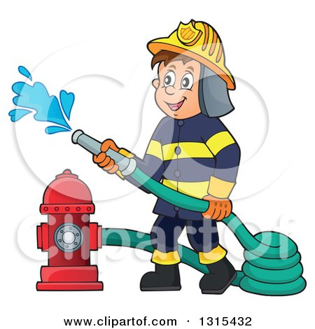 Clipart of a Cartoon Happy White Male Fireman Using a Hose Connected to a Hydrant - Royalty Free Vector Illustration by visekart