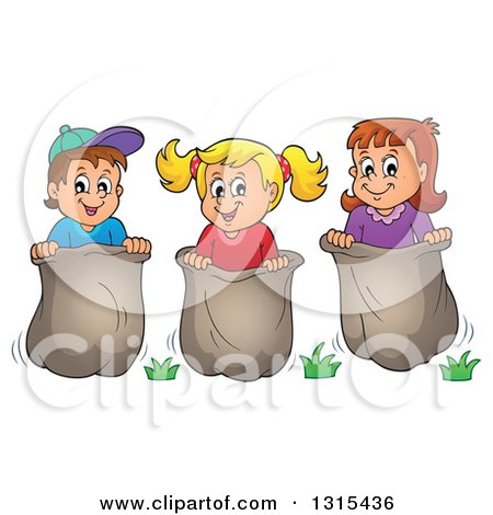 clipart of a cartoon group of happy caucasian children engaged in a