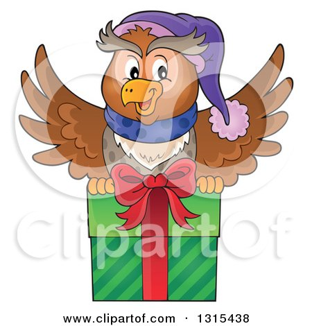 Clipart of a Cartoon Festive Christmas Owl Flying with a Gift - Royalty Free Vector Illustration by visekart