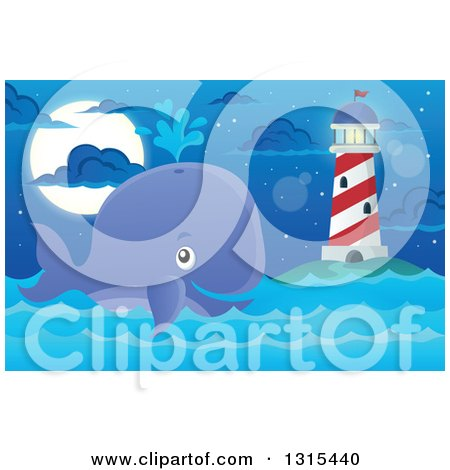 Clipart of a Cartoon Happy Spouting Whale near a Lighthouse at Night - Royalty Free Vector Illustration by visekart