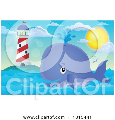 Cartoon Happy Spouting Whale near a Lighthouse Under the Sun Posters, Art Prints