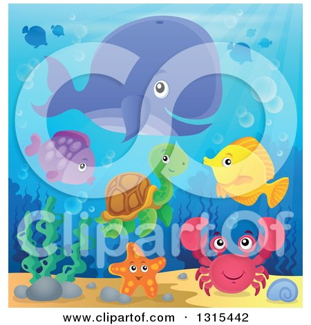 Clipart of a Cartoon Happy Whale, Fish, Crab and a Turtle Underwater - Royalty Free Vector Illustration by visekart