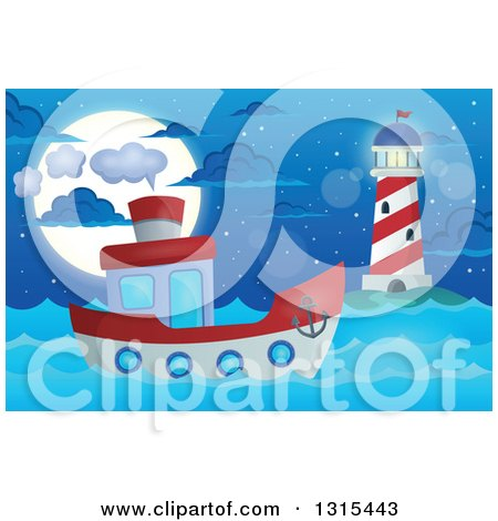 Clipart of a Cartoon Tugboat near a Lighthouse at Night - Royalty Free Vector Illustration by visekart