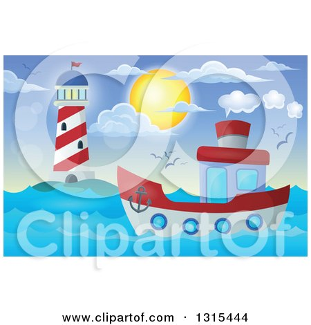 Clipart of a Cartoon Tugboat near a Lighthouse at Night - Royalty ...