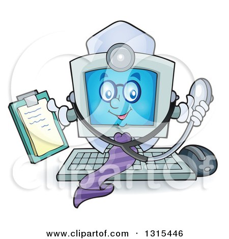 Clipart of a Cartoon Desktop Doctor Computer Character Holding a Clipboard and Stethoscope - Royalty Free Vector Illustration by visekart