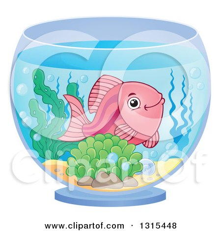 Clipart of a Fish Bowl with Anemones and Corals - Royalty Free ...