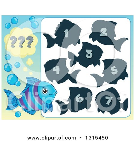 Clipart of a Blue and Purple Fish and Riddle Game - Royalty Free Vector Illustration by visekart