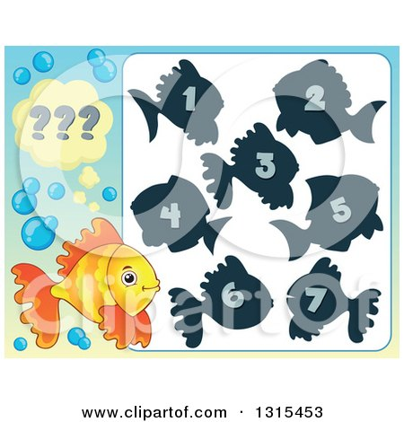 Clipart of a Yellow and Orange Fish and Riddle Game - Royalty Free Vector Illustration by visekart