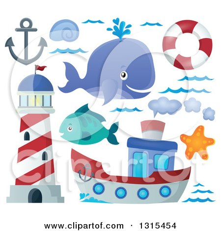 Clipart of a Cartoon Happy Spouting Whale, Lighthouse, Anchor, Waves, Life Buoy, Starfish, Fish and Boat - Royalty Free Vector Illustration by visekart